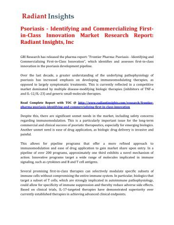Psoriasis - Identifying and Commercializing First-in-Class Innovation Market Research Report: Radiant Insights, Inc