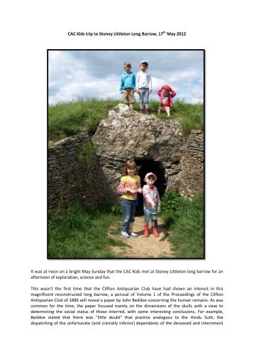 CACKids May 2012.pdf - Clifton Antiquarian Club