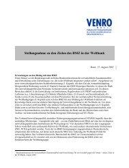 Stellungnahme zu den Zielen des BMZ in der Weltbank - Venro