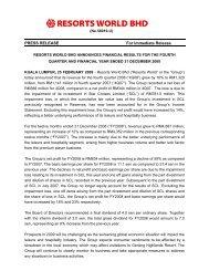 PRESS RELEASE For Immediate Release - Genting Malaysia Berhad