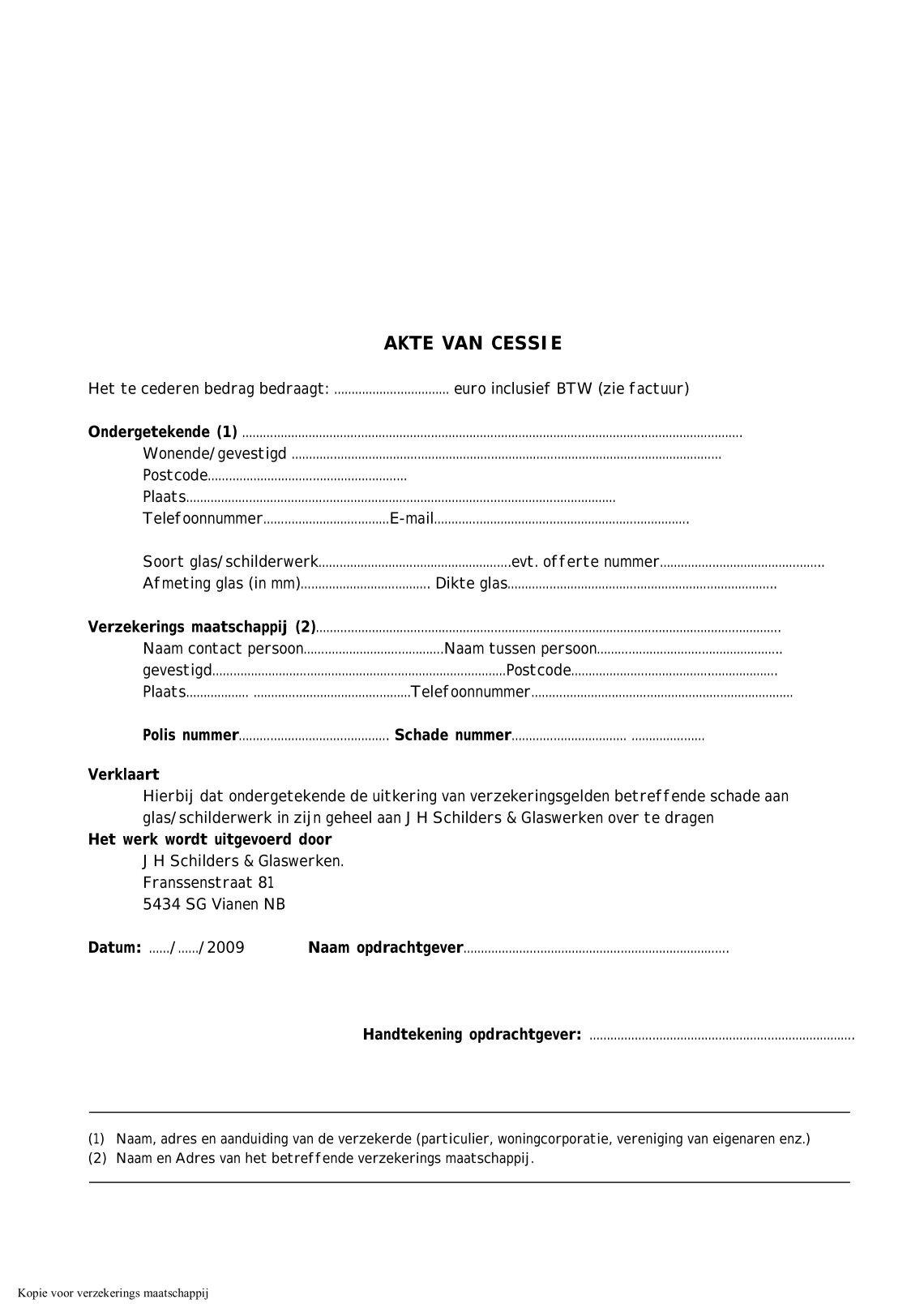 akte van cessie 1 free Magazines from JH.SCHILDERS.NL