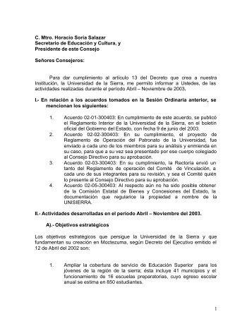 1 C. Mtro. Horacio Soria Salazar Secretario de Educación y Cultura ...