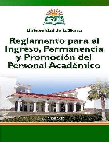 Reglamento para el Ingreso, Permanencia y Promoción del ...