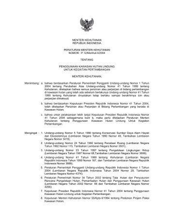 Peraturan menteri Nomor P-12 Tahun 2004