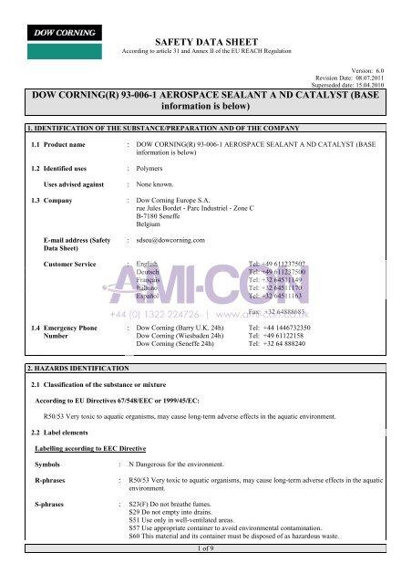 SAFETY DATA SHEET DOW CORNING(R) 93-006-1 ... - AMI-CON