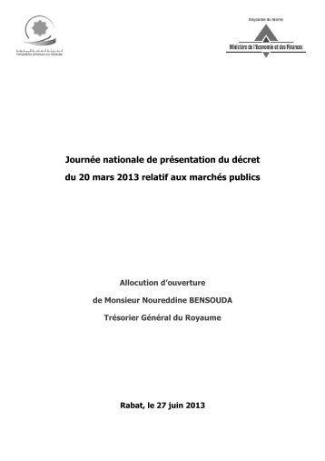 Allocution d'ouverture de M. Noureddine BENSOUDA, Trésorier ...