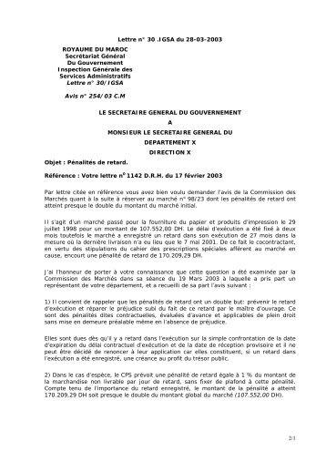 Lettre n° 30-IGSA du 28-03-2003 portant sur les pénalités de retard.