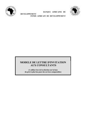 mod u00c8le de lettre d u0026 39 invitation  u00c0 soumissionner