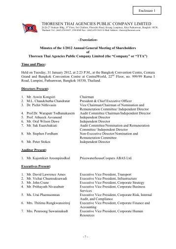 THORESEN THAI AGENCIES PUBLIC COMPANY LIMITED