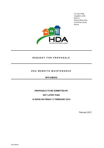 request for proposals hda website maintenance rfp/jhb/035 ...