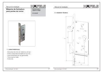 Máquina de fechadura para portas de correr com trinco duplo - Häfele
