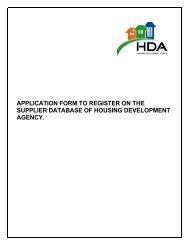 service provider registration form - Housing Development Agency