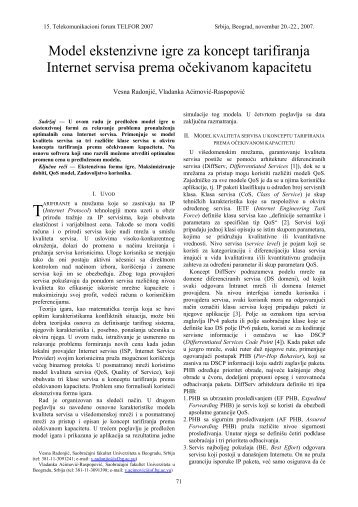 Model ekstenzivne igre za koncept tarifiranja Internet ... - Telfor 2007