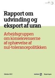 Rapport om udvinding og eksport af uran - Naalakkersuisut.gl