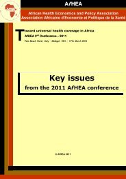 Key issues - African Health Economics and Policy Association
