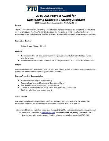 UGS Provost Award for Outstanding Graduate Teaching Assistant