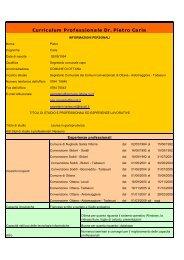 Curriculum Professionale Dr. Pietro Caria - Comune di Aidomaggiore