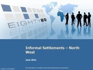 Informal settlements data - North West - Housing Development Agency