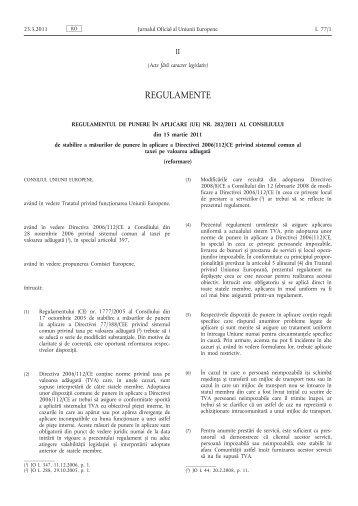Regulamentul de punere în aplicare (UE) nr. 282/2011 al Consiliului ...