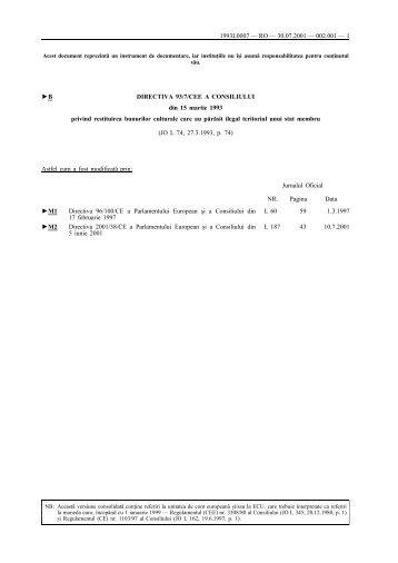 B DIRECTIVA 93/7/CEE A CONSILIULUI din 15 martie ... - Eur-Lex