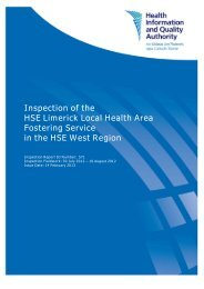 Inspection of the HSE Limerick Local Health Area Fostering ... - hiqa.ie