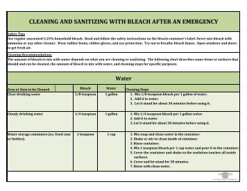 cleaning and sanitizing with bleach after an emergency