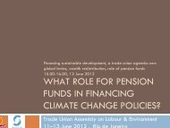 what role for pension funds in financing climate ... - Sustainlabour