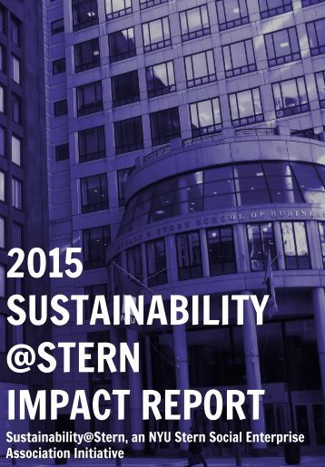 2015 SUSTAINABILITY @STERN IMPACT REPORT