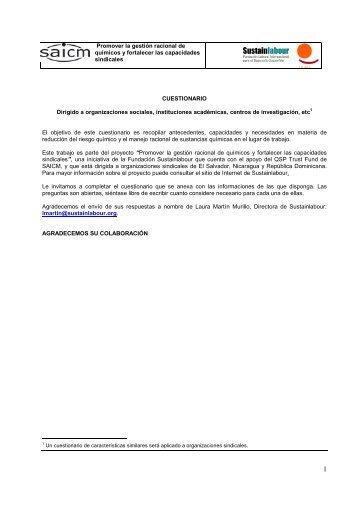 Promover la gestión racional de químicos y ... - Sustainlabour