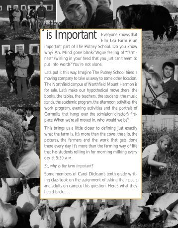 Why the Farm is Important - The Putney School
