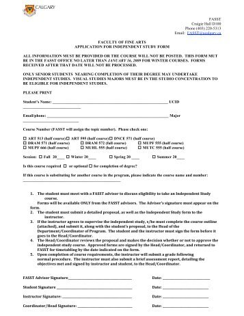 PR/ADV Independent Study Application Form - Department of ...