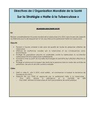 Sur la Stratégie « Halte à la Tuberculose » - Ministère de la lutte ...