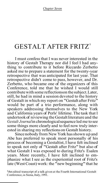 Gestalt After Fritz - Claudio Naranjo