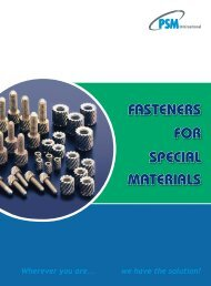 FOR SPECIAL MATERIALS FASTENERS - RGA and PSM Fasteners