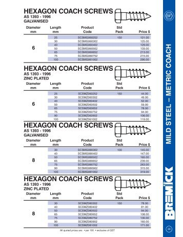 hexagon coach screws - RGA and PSM Fasteners