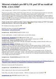 Mizerné ovladače pro HP LJ 5L pod XP na rozdíl od W98 - CO S TIM?