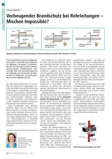 Vorbeugender Brandschutz bei Rohrleitungen ... - SanitärJournal