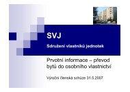 Prvotní informace – převod bytů do osobního vlastnictví