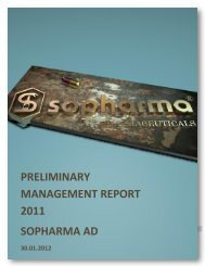 PRELIMINARY MANAGEMENT REPORT 2011 SOPHARMA AD