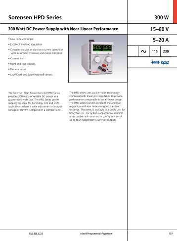 Sorensen HPD Series 300 W 15–60 V 5–20 A - Westek