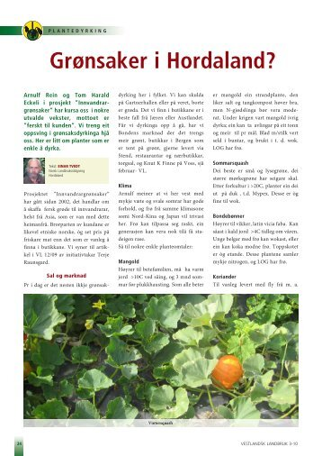 Les mer - Norsk Landbruksrådgiving Hordaland