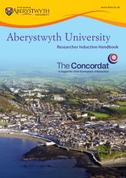 Researcher Induction Pack (pdf) - Aberystwyth University