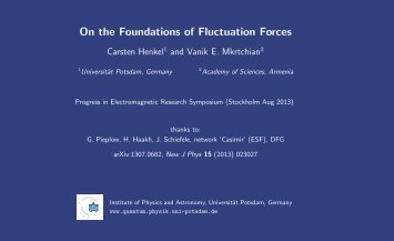 On the Foundations of Fluctuation Forces