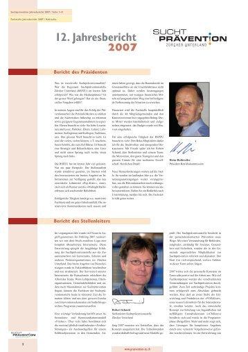 12. Jahresbericht 2007 - Suchtprävention Zürcher Unterland