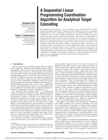 A Sequential Linear Programming Coordination Algorithm for ...