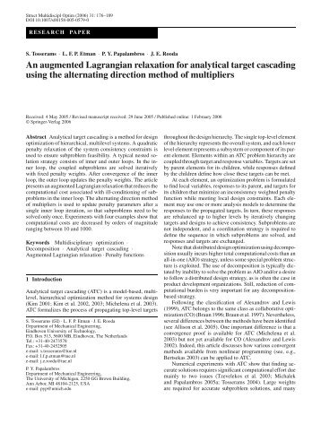An augmented Lagrangian relaxation for analytical target cascading ...