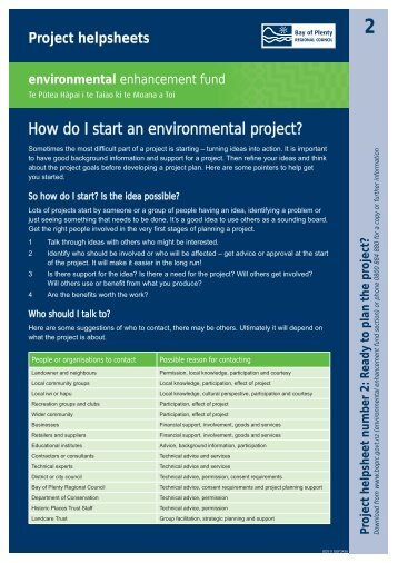 How do I start an environmental project? - Bay of Plenty Regional ...