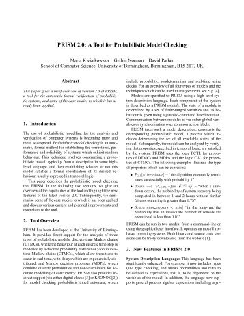 PRISM 2.0: A Tool for Probabilistic Model Checking