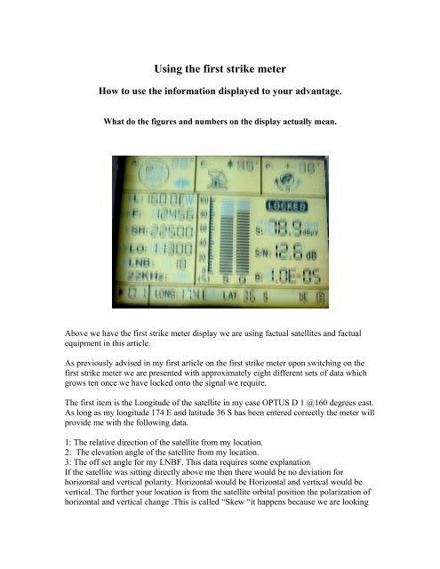Using the FS1 Satellite Signal Meter - First Strike Meters