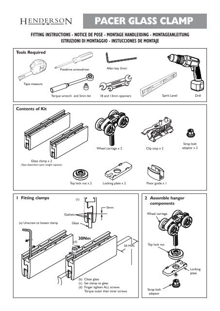 Double Top Fittings Kit for 1 Additional Door